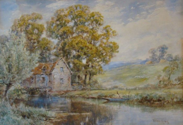 English Mill River Scene by Yeend King