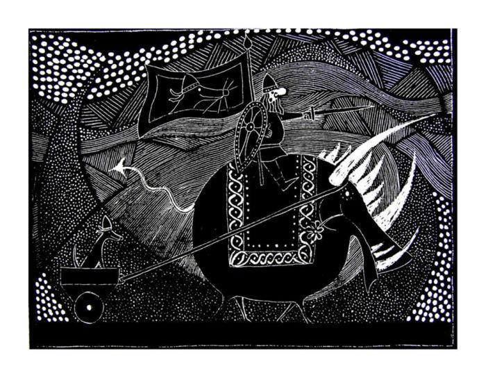Odin, Gullinbursti and Garm by Duncan Pass