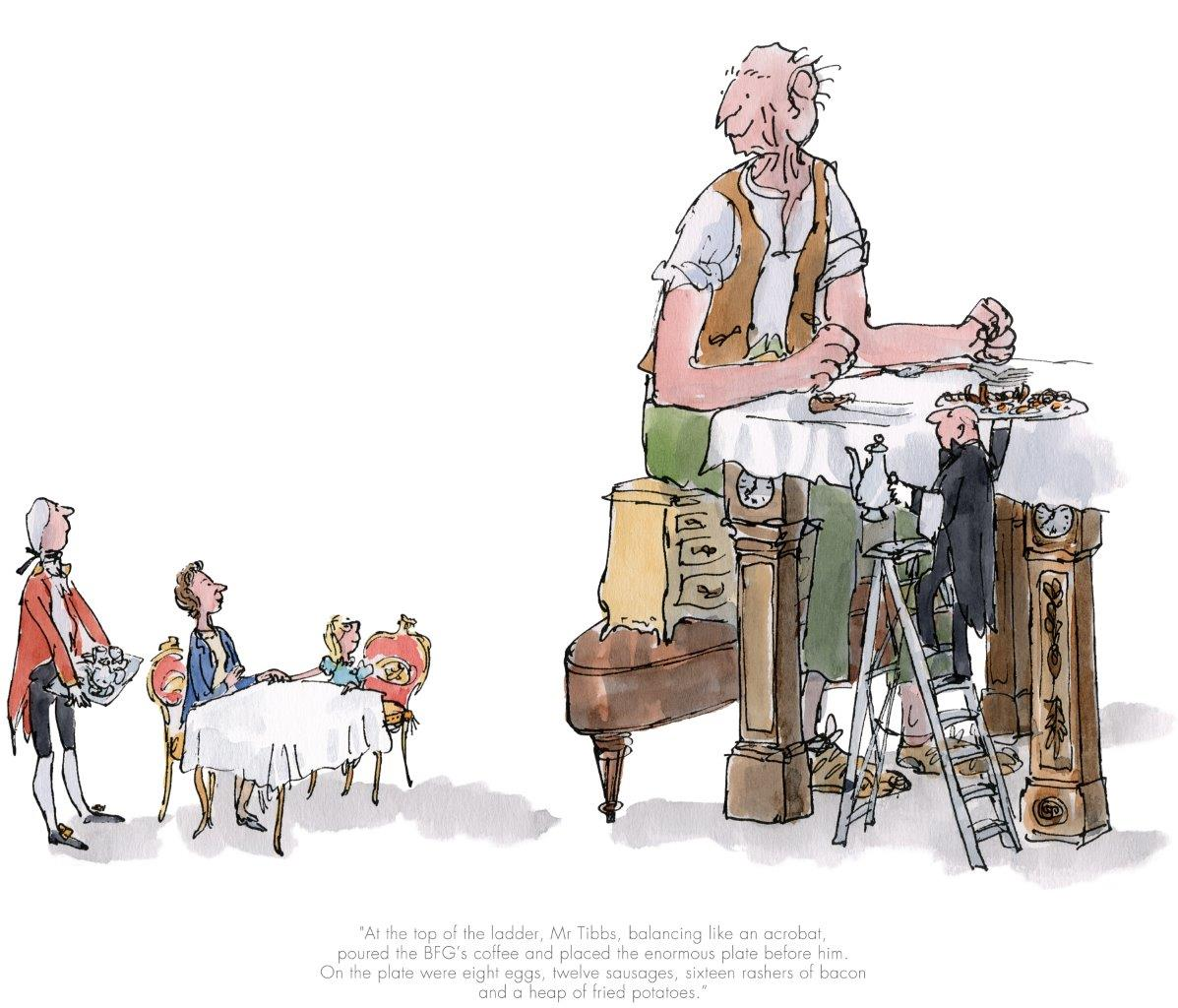 The BFG has breakfast with the Queen by Sir Quentin Blake