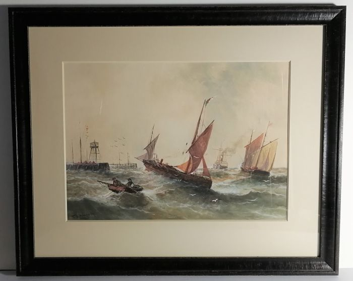 Sailing Boat and Ships near a Pier after TB Hardy by Unknown