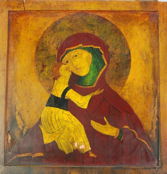 Late 19th Century European Icon on Wood by Unknown