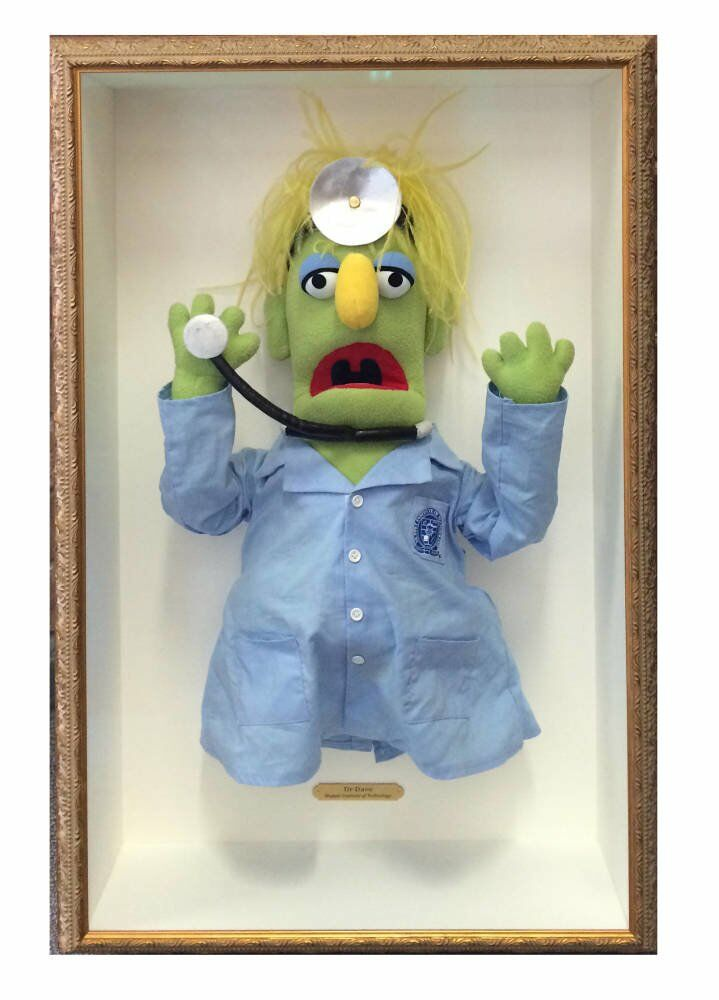 3D object custom box framing - puppet framed Dr Dave Muppet larson juhl