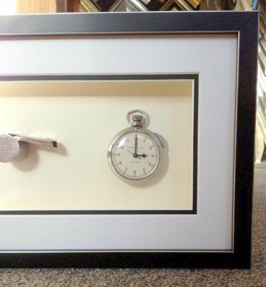 Double mount whistle framing - Old Referee Watch and Whistle