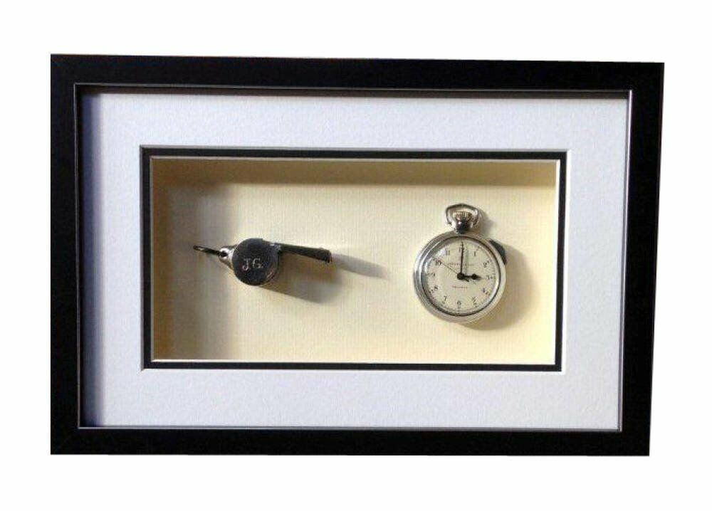 Whistle and watch black and silver frame - Old Referee Watch and Whistle
