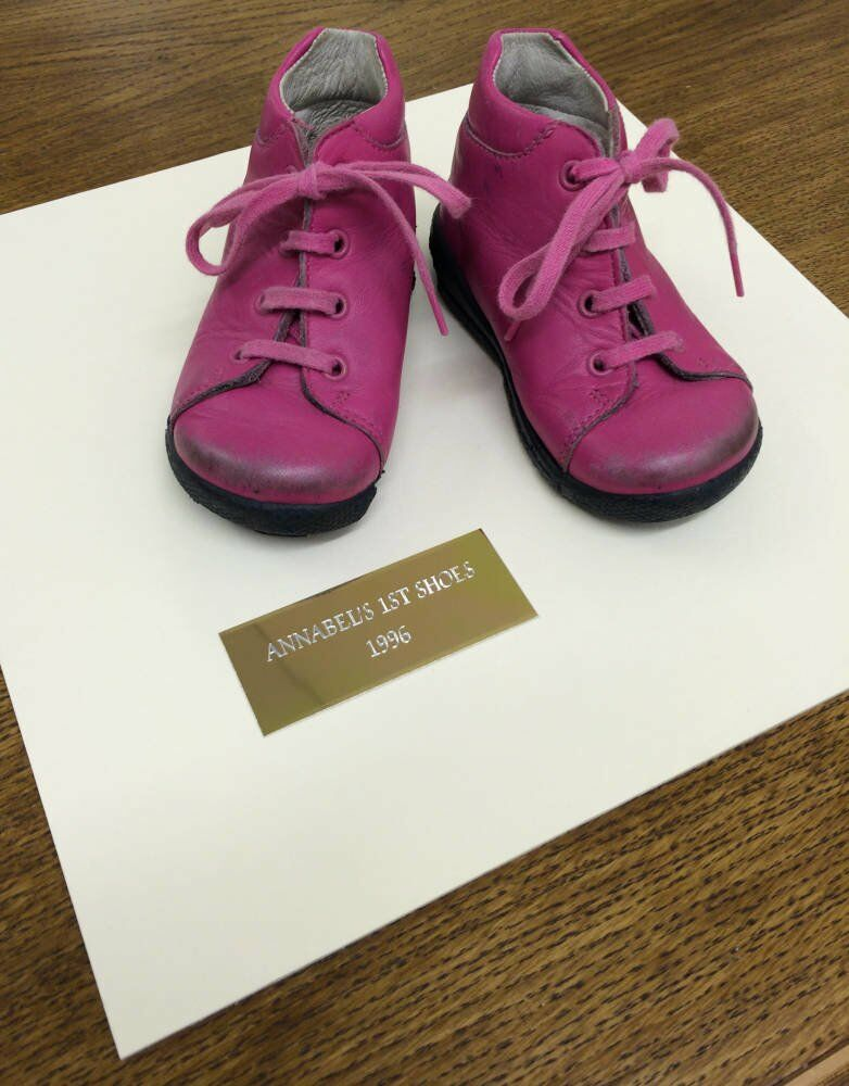 Pink Baby Shoes framed - custom plaque