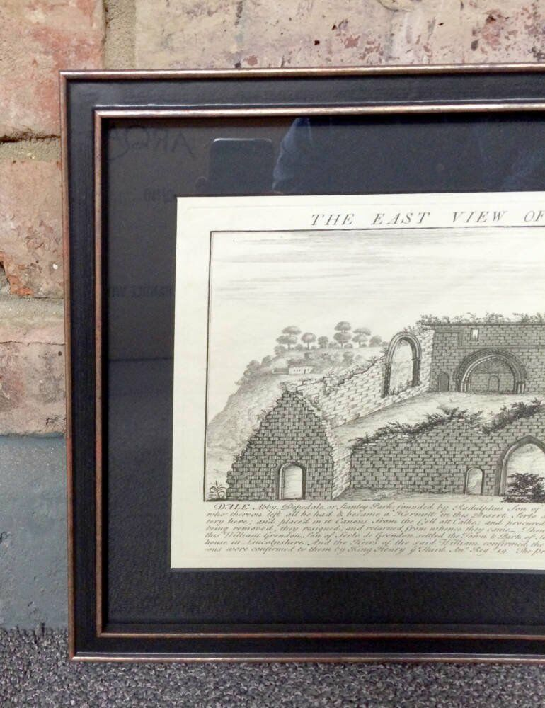 UV protected glass conservation framing dale abbey derbyshire Dale Abbey - Antique sketch of Dale Abbey