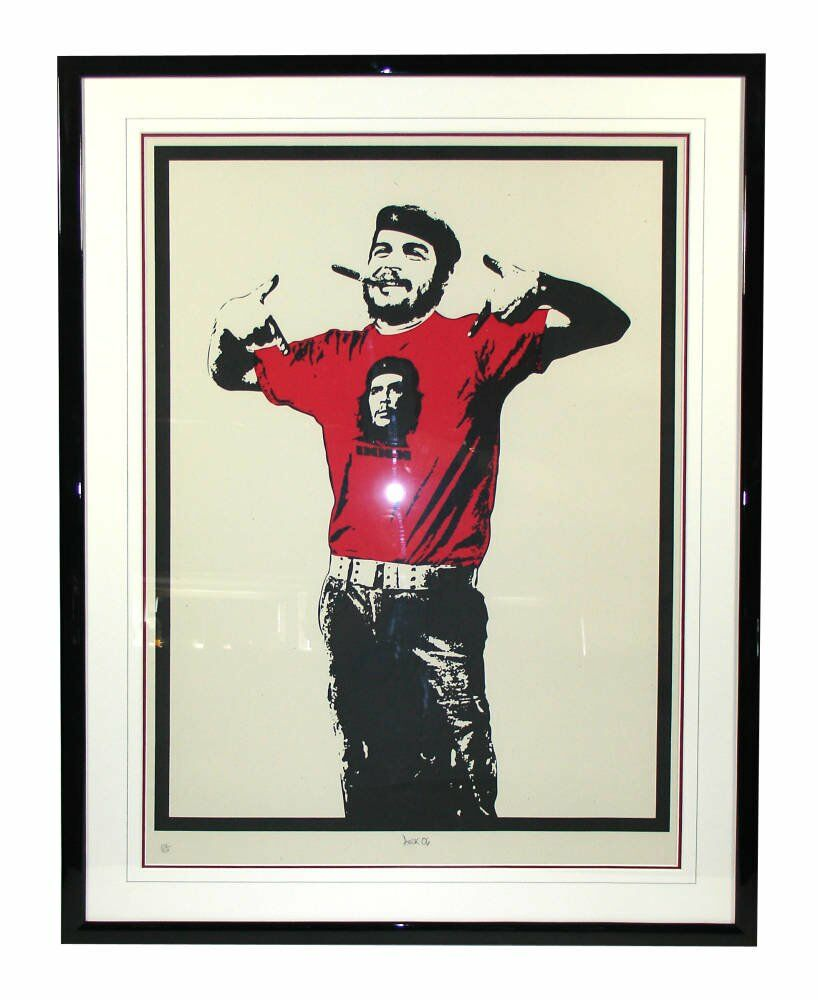 Art Prints - Stencil art black frame double mount wash lines