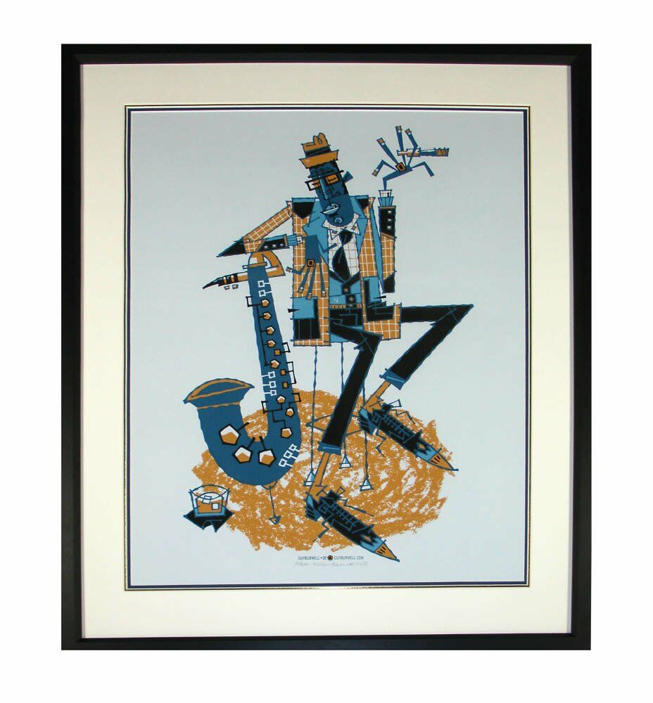 Blue jay guy burwell artwork art prints framed silkscreen framed - Guy Burwell framing