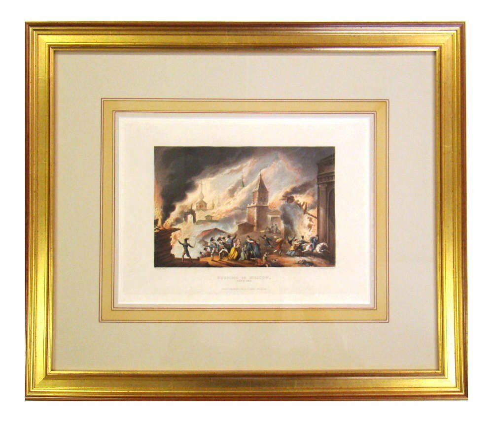 Small artwork with custom washlines - gold leaf frame mount washlines traditional artwork