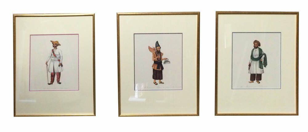 Art Prints - framing examples tiptych display Indian prints modern gold frame