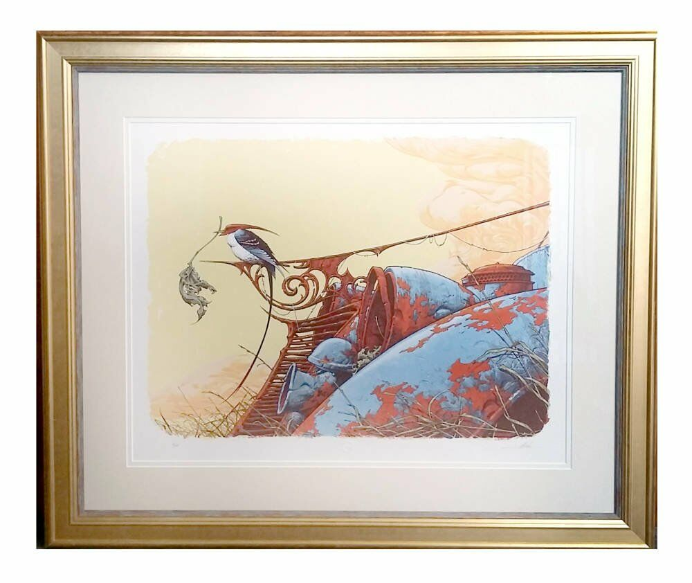 Aaron Horkey - Nesting - custom framing limited edition framing double mount valuable artwork framing