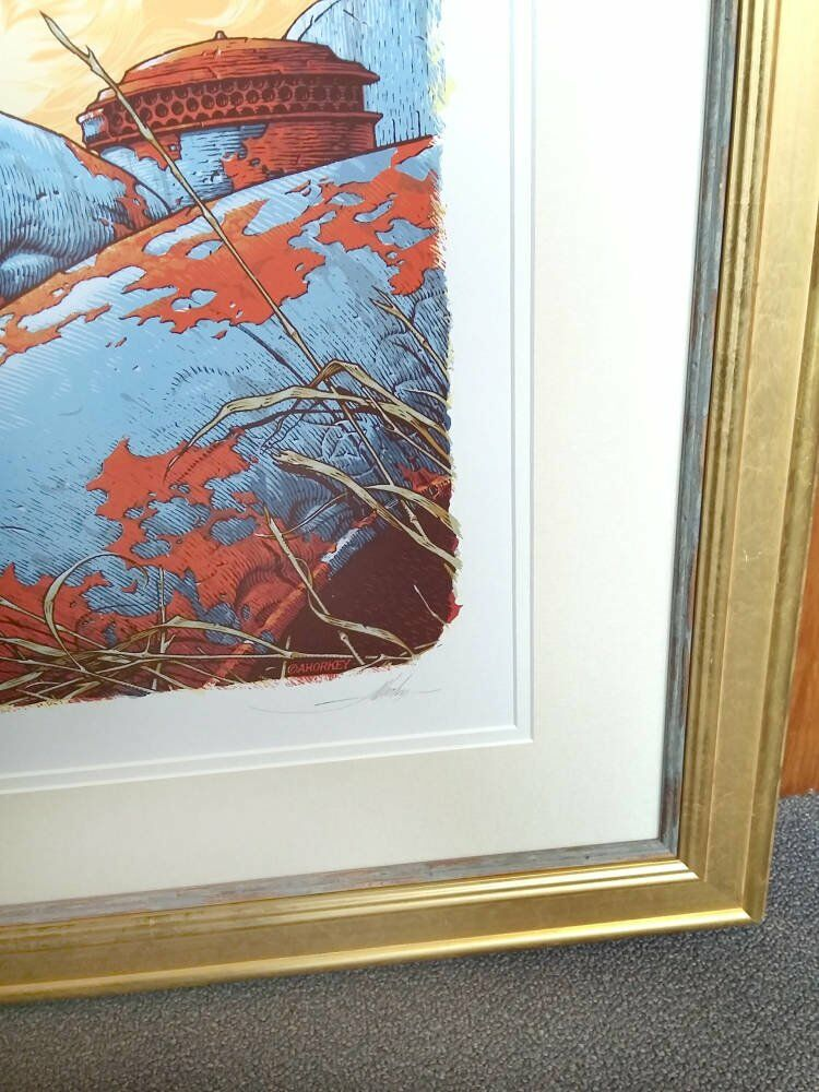 Mountslip gold leaf frame double mount - Limited Edition Print Framing