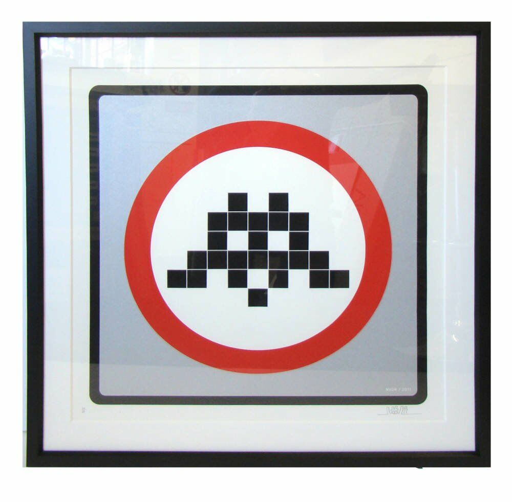 Space Invader print framed - framing examples professional framing