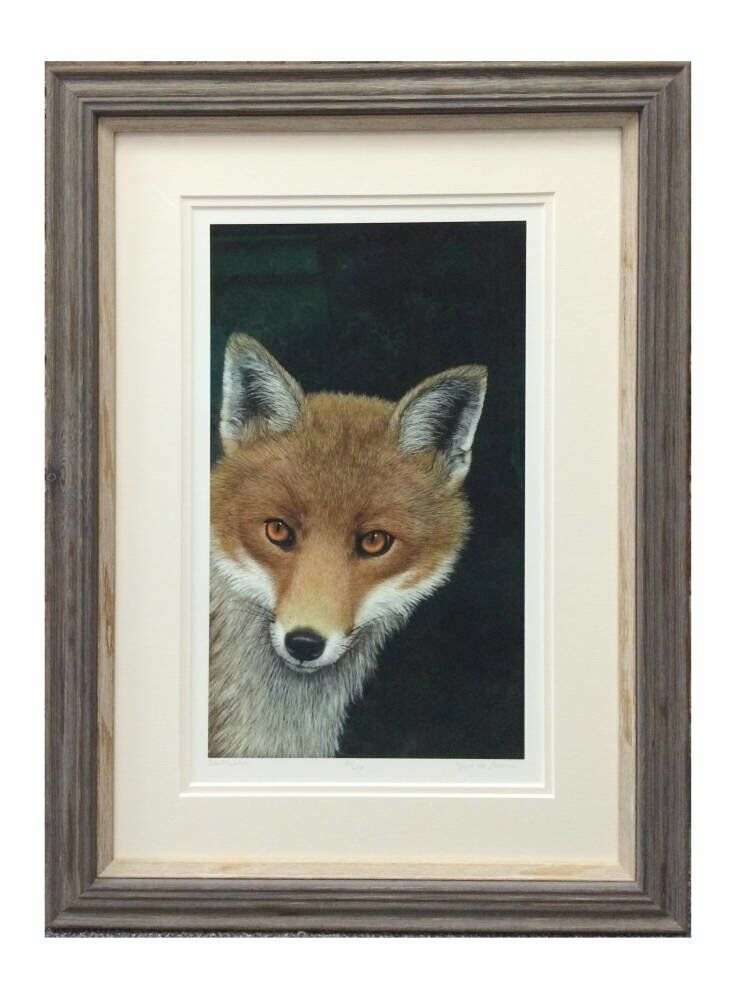 Drawing of fox cream double mount natural wooden frames - Stunning Fox portrait