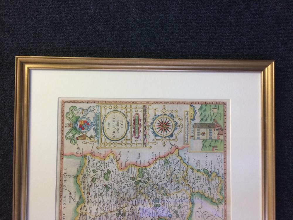 antique map of Derbyshire with tru vue glass -