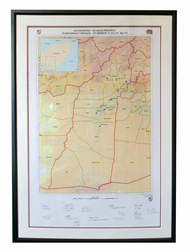 Afghan veterans black core mount Armed forces memorabilia - Map of Afghanistan - Helmand Province - Double mount