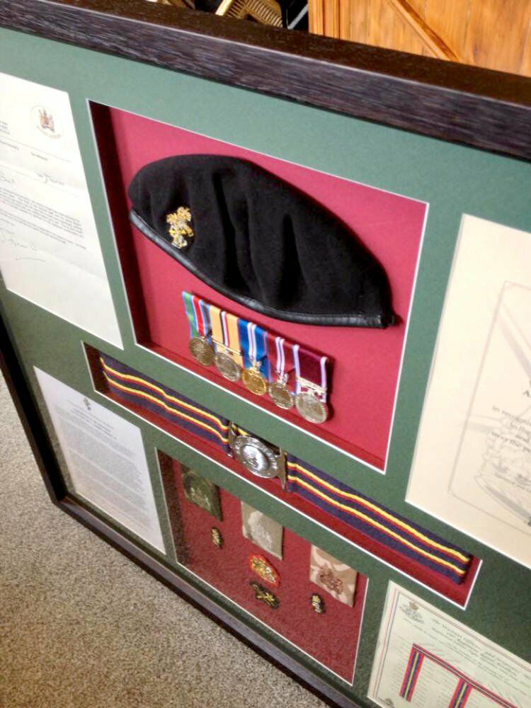 Framed Beret and medals