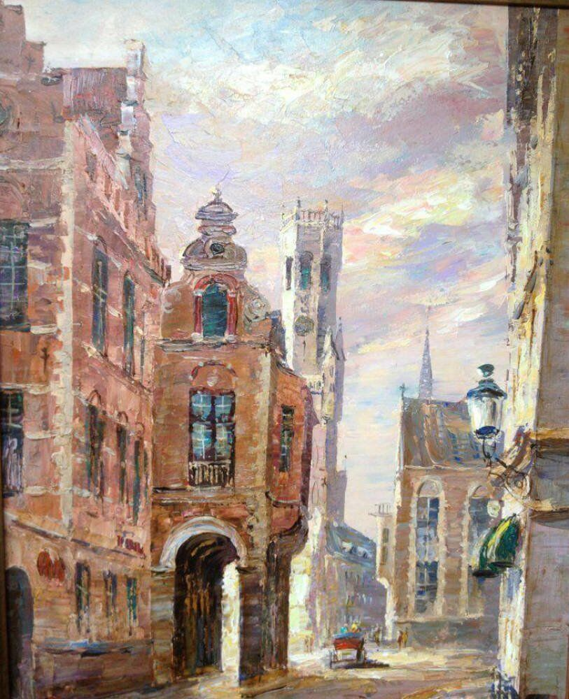 Larson juhl gold frame stunning contemporary bruges - Large contemporary oil painting of Bruges