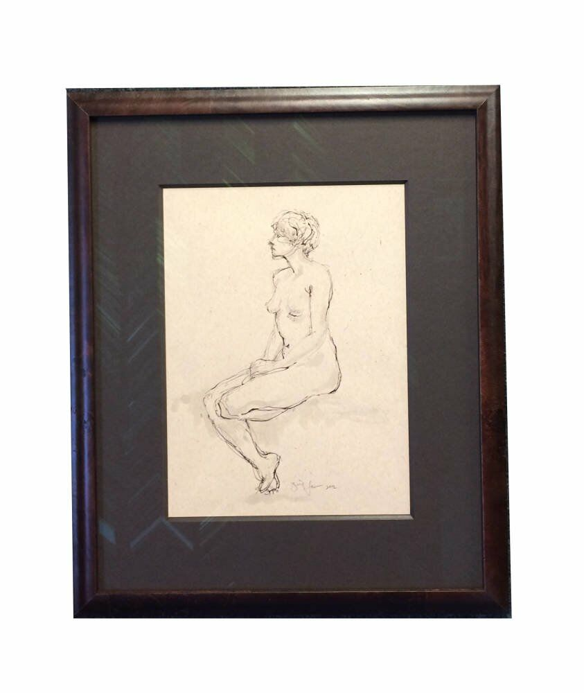 Framing projects low reflective glass museum grade mount framing ideas - Ink sketch of a nude