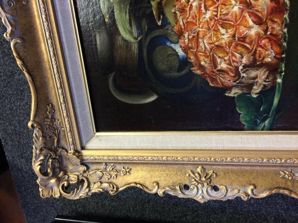 Pineapple still life antique gold frame authentic aged frames - Ornate Picture Framing