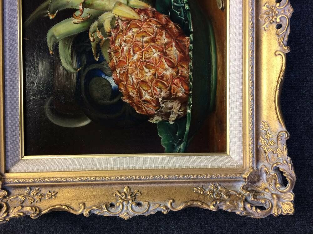 Antique gold frame wine still life - Bespoke swept frame