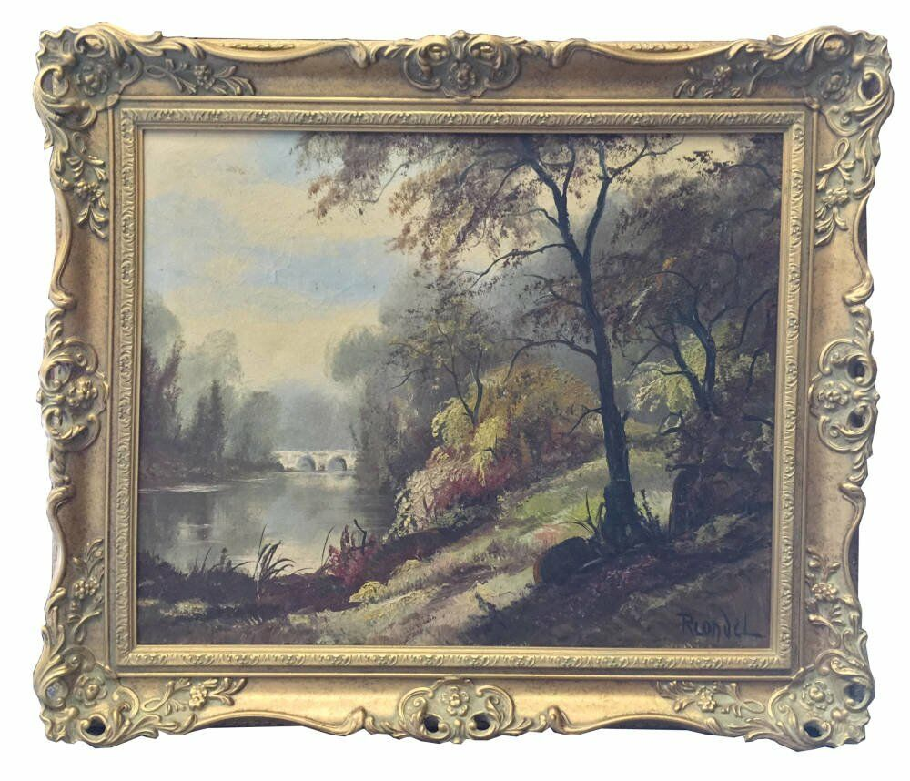 Gold swept frames stretched oil painting