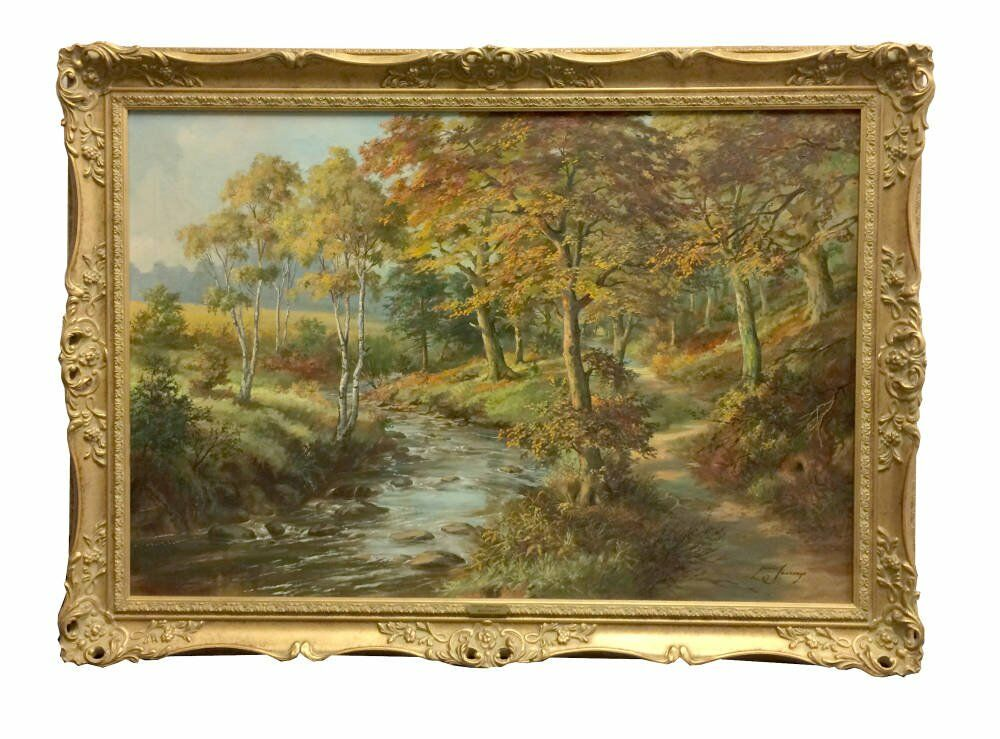 Custom period frames landscape painting framed - Louis Jennings - Ryecroft