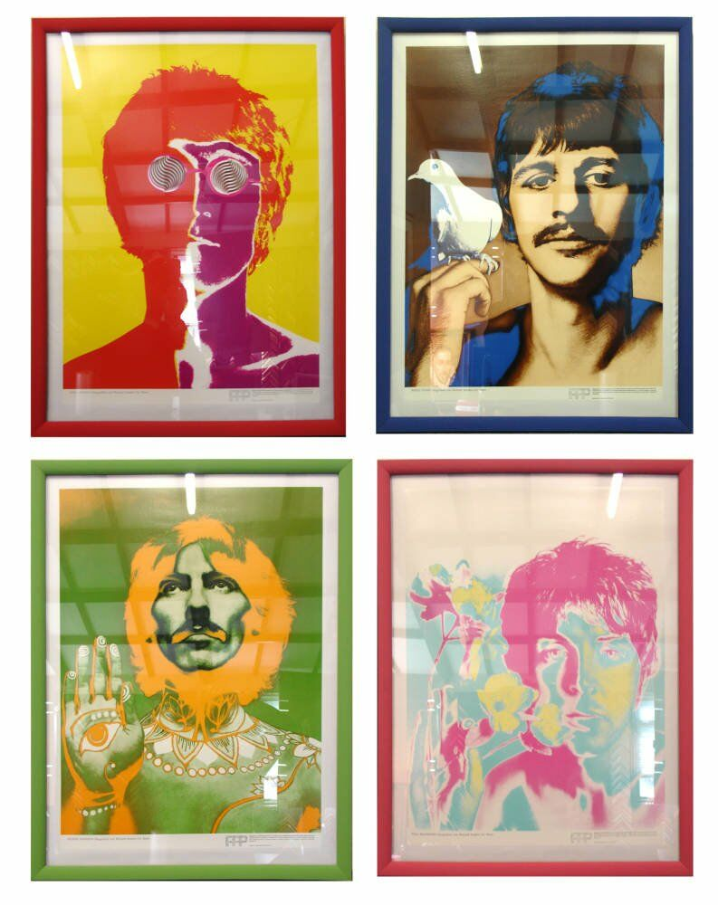 Sgt. pepper's lonley hearts club artwork Framed Beatles poster four posters displayed beatles posters - Beatles poster set framed
