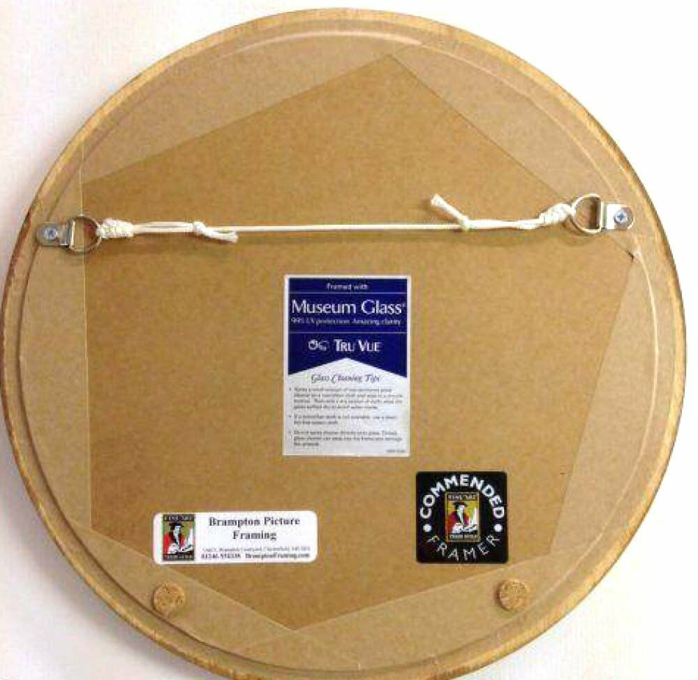 Circular protected circular artworks - Beautiful circular artworks framed with Museum Glass and mounts