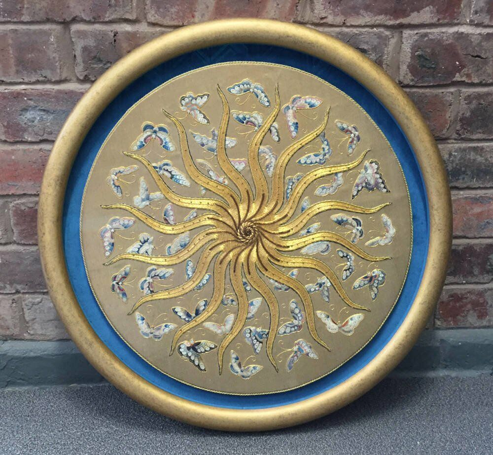 Large bespoke round frame - gilded embroidery in  dark antique gold