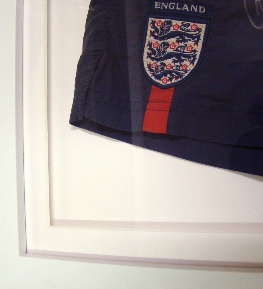 Handed stitched England signed shorts framed memorabilia - Signed England Football Shorts Framing Project