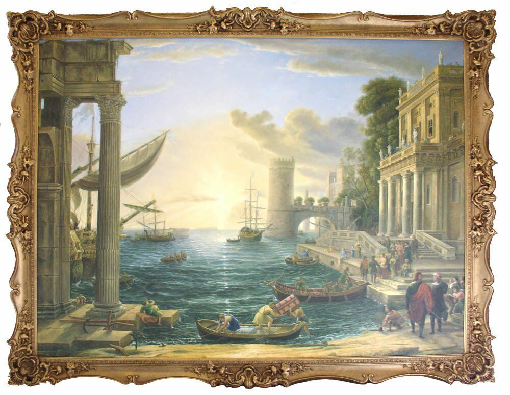Large Closed Corner Frame With Commissioned Oil Painting